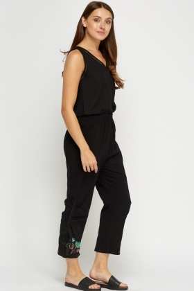 Ruched Side Embroidered Cropped Trousers