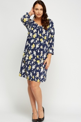 Simple And Chic Navy Flower Printed Dress