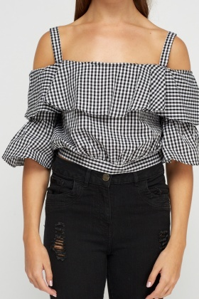 Tie Up Back Checked Crop Top