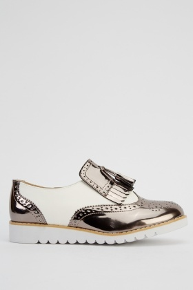 Metallic Contrast Brogue Shoes