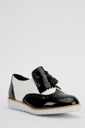 Via Givlia Metallic Contrast Brogue Shoes