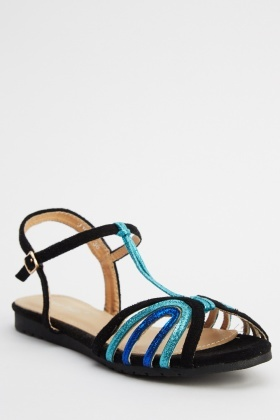 Contrast Ankle Strap Sandals