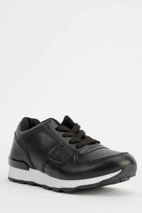 Faux Leather Contrast Trainers