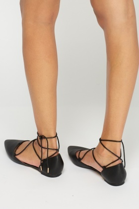 Faux Leather Court Tie Up Shoes