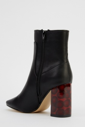 Faux Leather Printed Block Heel Boots