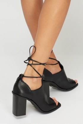 Open Toe Tie Up Block Heel Boots