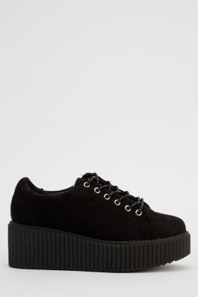 Platformed Black Suedette Shoes