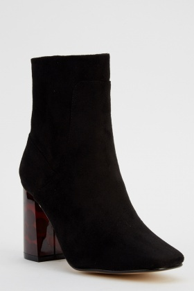 Suedette Printed Heel Boots