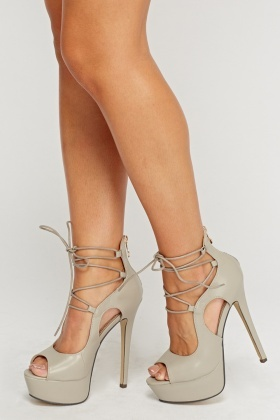 Tie Up Faux Leather Heels