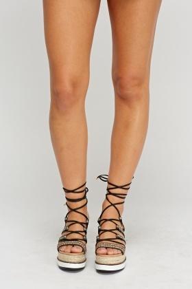 42ffba774a610 Tie Up Wedge Espadrille Sandals - Just £5