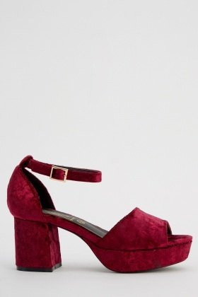 Velveteen Ankle Strap Heeled Sandals