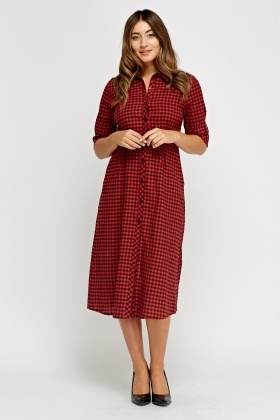 Check Grid Long Button Up Dress