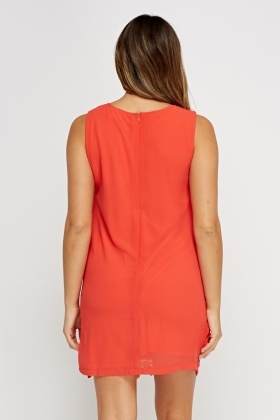 Coral Crochet Hem Sheer Dress