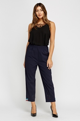 Cropped Detail Hem Trousers