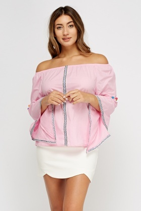 Embroidered Off Shoulder Wide Sleeve Top