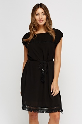 Fringed Hem Tie Up Tunic Dress