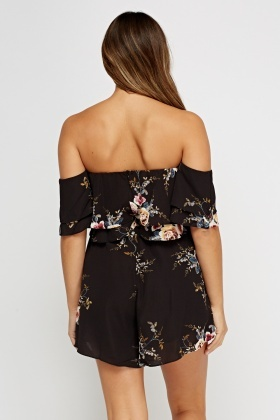 Layered Floral Off Shoulder Playsuit