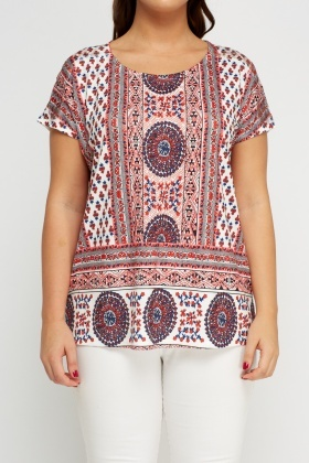 Mixed Print Lace Back Top