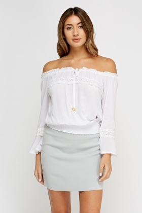 Off Shoulder Crochet Trim Casual Top