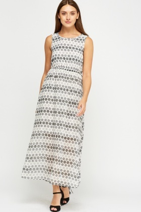 Polka Dot Printed Sheer Maxi Dress