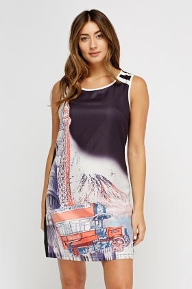 Printed Front Contrast Casual Dress