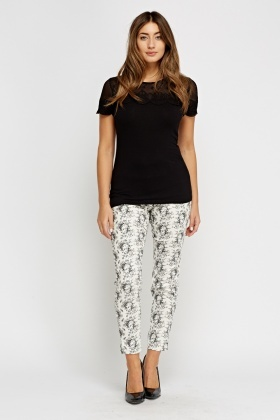 Printed White Cigarette Trousers