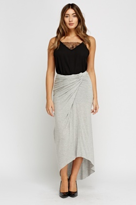 Ruched Grey Bodycon Maxi Skirt