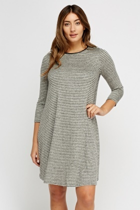 Striped Grey Knitted Swing Dress