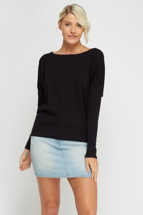 Batwing Sleeve Ribbed Casual Top