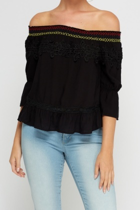 Contrasted Off Shoulder Top