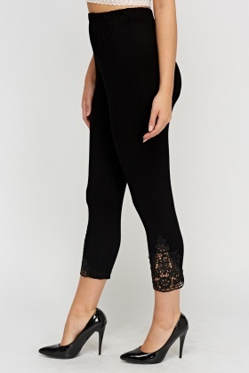 Crochet Hem Basic Leggings