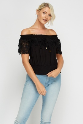 Crochet Insert Off Shoulder Top