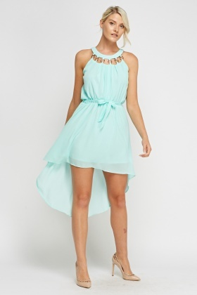 Detailed Neck Dip Hem Dress