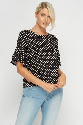 Flare Sleeve Polka Dot Top