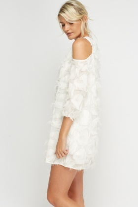 Fringed White Dress