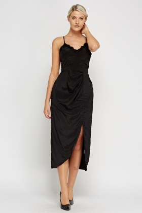 Lace Trim Ruched Dress