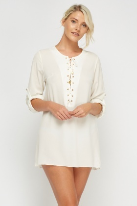 Lace Up Casual Tunic Dress