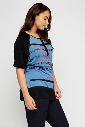 Logo Printed Colour Block Top