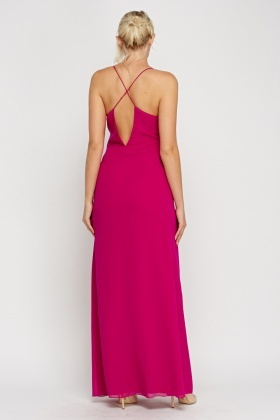 Magenta Side Slit Evening Maxi Dress