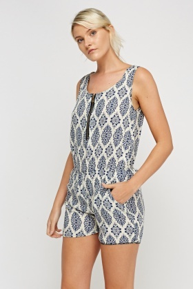 Mixed Print Zip Front Playsuit