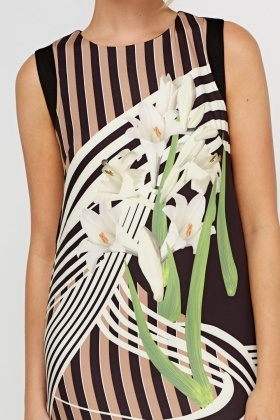 Printed Contrast Front Dress