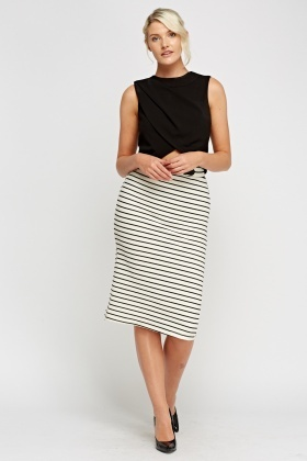 Ribbed Cream Midi Skirt