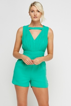 Ruched Green Sheer Playsuit