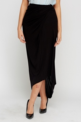 Ruched Midi Asymmetric Skirt