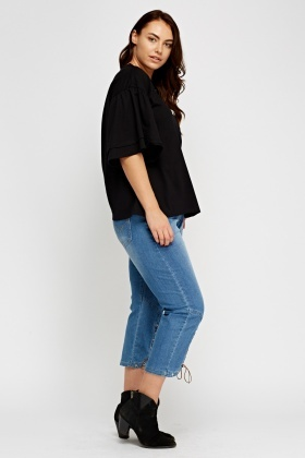 Tie Up Cropped Hem Denim Jeans