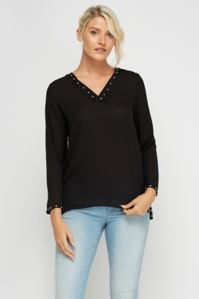 V-Neck Studded Sheer Top