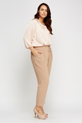 Beige Tie Up Trousers