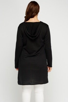Dip Hem Black Long Top