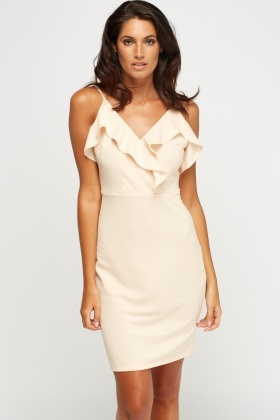 Flared Beige Mini Dress