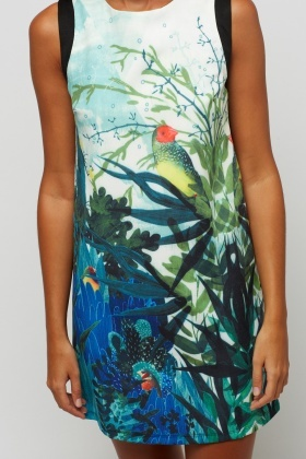 Green Printed Front Shift Dress